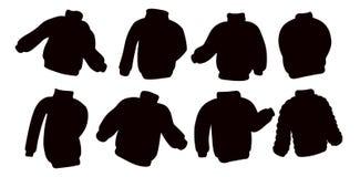Черное собрание прыгуна свитера силуэтов Установите символов шаблона случайной одежды иллюстрация штока
