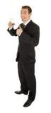 черное стекло дела держит костюм человека o молодым Стоковая Фотография