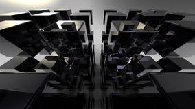 Черное 3D cubes абстракция Стоковое Изображение