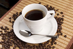 черное coffe горячее Стоковая Фотография RF