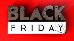 Черное Friday 3 d задавливая на красной предпосылке Стоковое Изображение