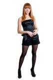 черной белизна платья изолированная девушкой Стоковое Изображение