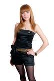 черной белизна платья изолированная девушкой Стоковые Фото