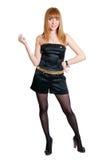 черной белизна платья изолированная девушкой Стоковая Фотография