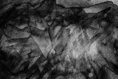Черной предпосылка конспекта краски акварели просмотренная текстурой Стоковое Изображение RF