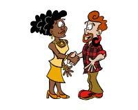 Чернокожая женщина и белый человек тряся руки иллюстрация штока