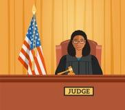 Чернокожая женщина судьи в иллюстрации вектора зала судебных заседаний плоской иллюстрация штока