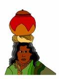 Чернокожая женщина с вазой на белой предпосылке Стоковая Фотография