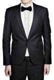 Чернокожие человеки wedding куртка костюма, рубашка и изолированная бабочка связи Стоковое Фото