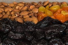 Черносливы, высушенные абрикосы, высушенные мандарины и миндалины на светлой деревянной предпосылке Стоковые Фото