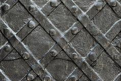 Чернота выковала железную дверь для текстуры или предпосылку, старую архитектуру фона строба замка Стоковое Изображение