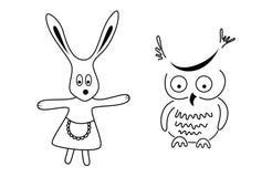 чернота выравнивает кролика сыча чисто иллюстрация вектора