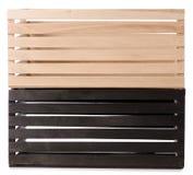 Чернота 2 деревянных коробок Стоковая Фотография RF