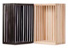 Чернота 2 деревянных коробок Стоковые Изображения RF