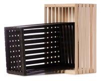 Чернота 2 деревянных коробок Стоковое Изображение