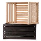 Чернота 2 деревянных коробок Стоковая Фотография