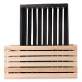 Чернота 2 деревянных коробок Стоковое фото RF