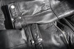 чернота детализирует кожу куртки Стоковые Фото