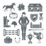 Чернота значков жокея иллюстрация штока