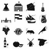Чернота значков Испании бесплатная иллюстрация