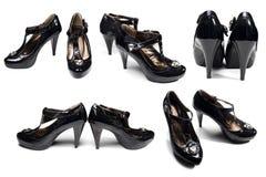 чернота изолировала женщину много ботинок s белую Стоковые Фотографии RF
