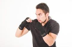 Чернота испанского бойца боевых искусств человека нося Стоковое Изображение RF