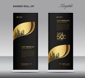 Чернота и золото свертывают вверх вектор шаблона знамени, рекламу, x-знамя, плакат, дизайн тяги поднимающий вверх иллюстрация штока