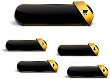Чернота и кнопки сети золота Стоковое Изображение RF
