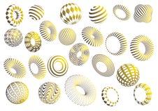 Чернота и комплект вектора форм золота 3d Стоковая Фотография
