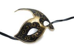 Чернота и маска золота венецианская изолированная на белой предпосылке Стоковые Изображения
