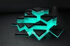 чернота и предпосылка треугольника бирюзы Стоковые Фото