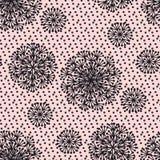 Чернота и румяный абстрактный одуванчик цветут безшовная картина Стоковая Фотография RF