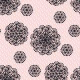 Чернота и румяный абстрактный одуванчик цветут безшовная картина Стоковое фото RF