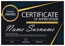 Чернота и сертификат элегантности золота горизонтальный с иллюстрацией вектора, белым шаблоном сертификата рамки с чистым стилем бесплатная иллюстрация