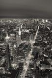 Чернота и wh горизонта New York City Манхаттан Стоковое Фото