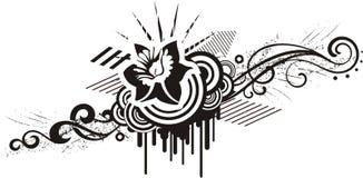 чернота конструирует флористическую белизну Стоковая Фотография
