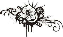 чернота конструирует флористическую белизну Стоковое Изображение