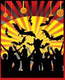 чернота красит партию иллюстрации halloween красным Стоковое Изображение RF