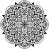 Чернота мандалы и бело-серый doodle иллюстрация штока