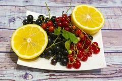 Чернота натюрморта, красная смородина и 2 половины лимона Стоковое Изображение