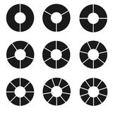 Чернота поделила на сегменты комплект круга Стоковая Фотография