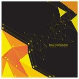 Чернота предпосылки абстрактная желтая с точками и линиями круга соединяясь Стоковые Фотографии RF
