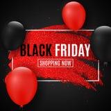 Чернота пятница знамени сети для продажи Линия Grunge с яркими блесками Реалистические воздушные шары Темная предпосылка большие  Стоковые Изображения