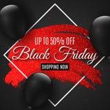 Чернота пятница знамени сети для продажи Линия Grunge с яркими блесками Черные воздушные шары Черная предпосылка карточка 2007 пр стоковая фотография