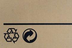 Чернота рециркулирует символ на коробке Стоковое Изображение RF