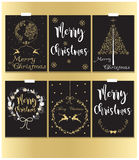 Чернота рождественских открыток и стиль золота Стоковые Фото