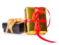 Чернота смычка 2 подарочных коробок красная желтая Стоковые Фото