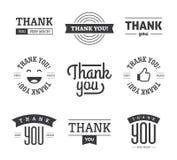 Чернота спасибо обозначает и подписывает Стоковые Изображения