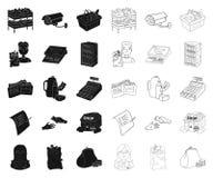 Чернота супермаркета и оборудования, значки плана в установленном собрании для дизайна Приобретение сети запаса символа вектора п бесплатная иллюстрация
