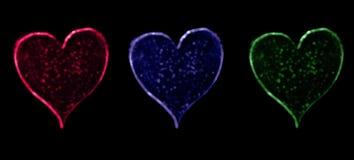 Чернота Bokeh 3 сердец иллюстрация штока